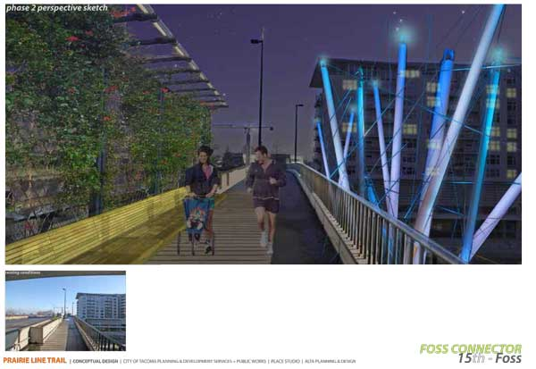 Artist rendering of possible phase 2 design for the Foss Connector ramp.